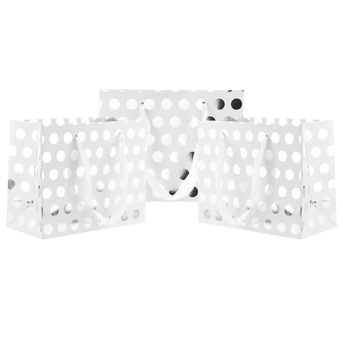 Three standing silver polka dots small paper bags with silver satin ribbon handles