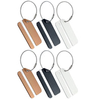 Displaying six pieces of luggage tags in three different colors, including 2 Golds, 2 Blacks, and 2 Silvers
