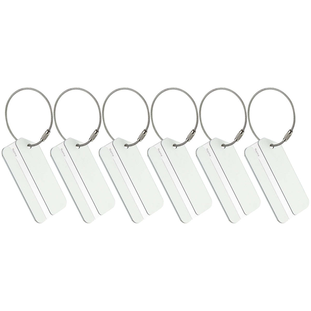 Six silver luggage tags placed upright.