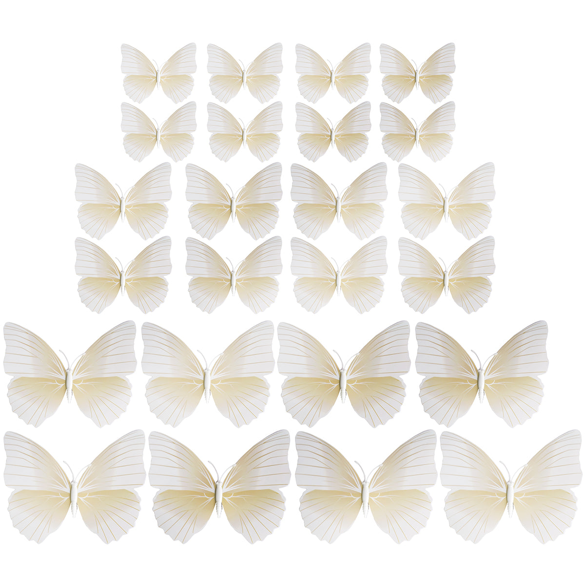White Butterflies Decorations with Magnet  24 Pieces
