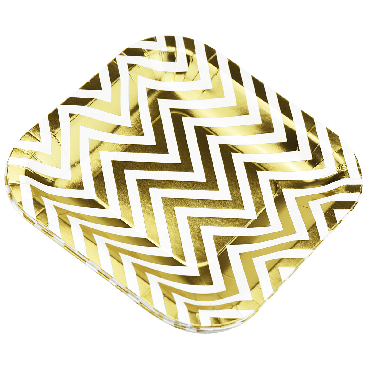 16 stacked white and gold zigzag design square paper plates display with a white background