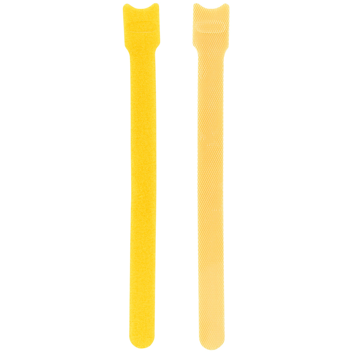 Displaying of two upright yellow nylon cable ties