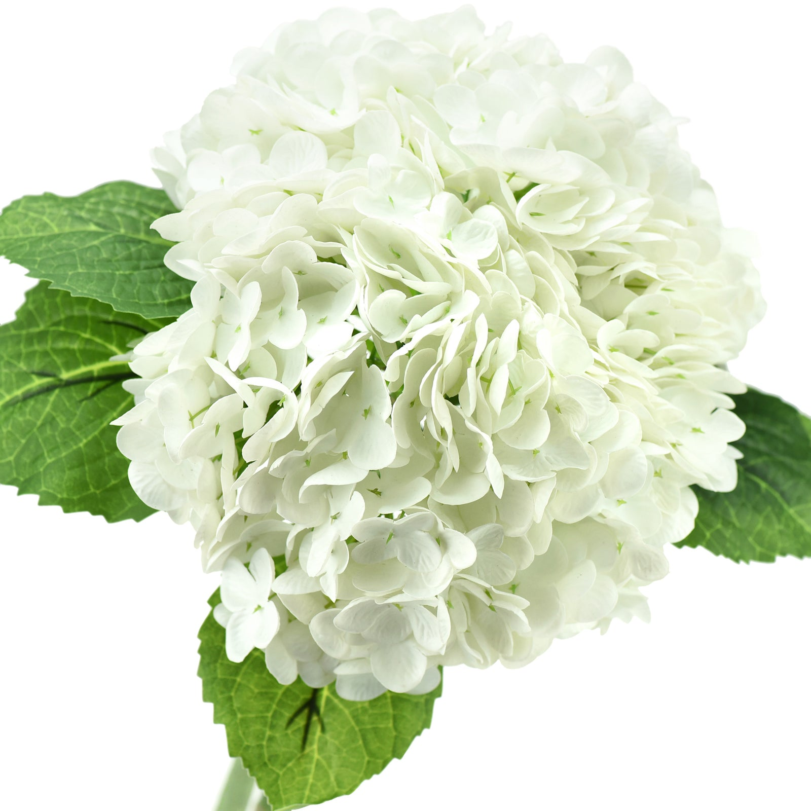 FiveSeasonStuff 2 Stems Real Touch Petals and Leaves Artificial Hydrangea Flowers Long Stem Floral Arrangement | for Wedding Bridal Party Home Décor DIY Floral Decoration (White)