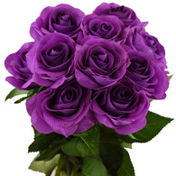 Real Touch 10 Stems Purple Silk Artificial Roses Flowers 'Petals Feel and Look like Fresh Roses