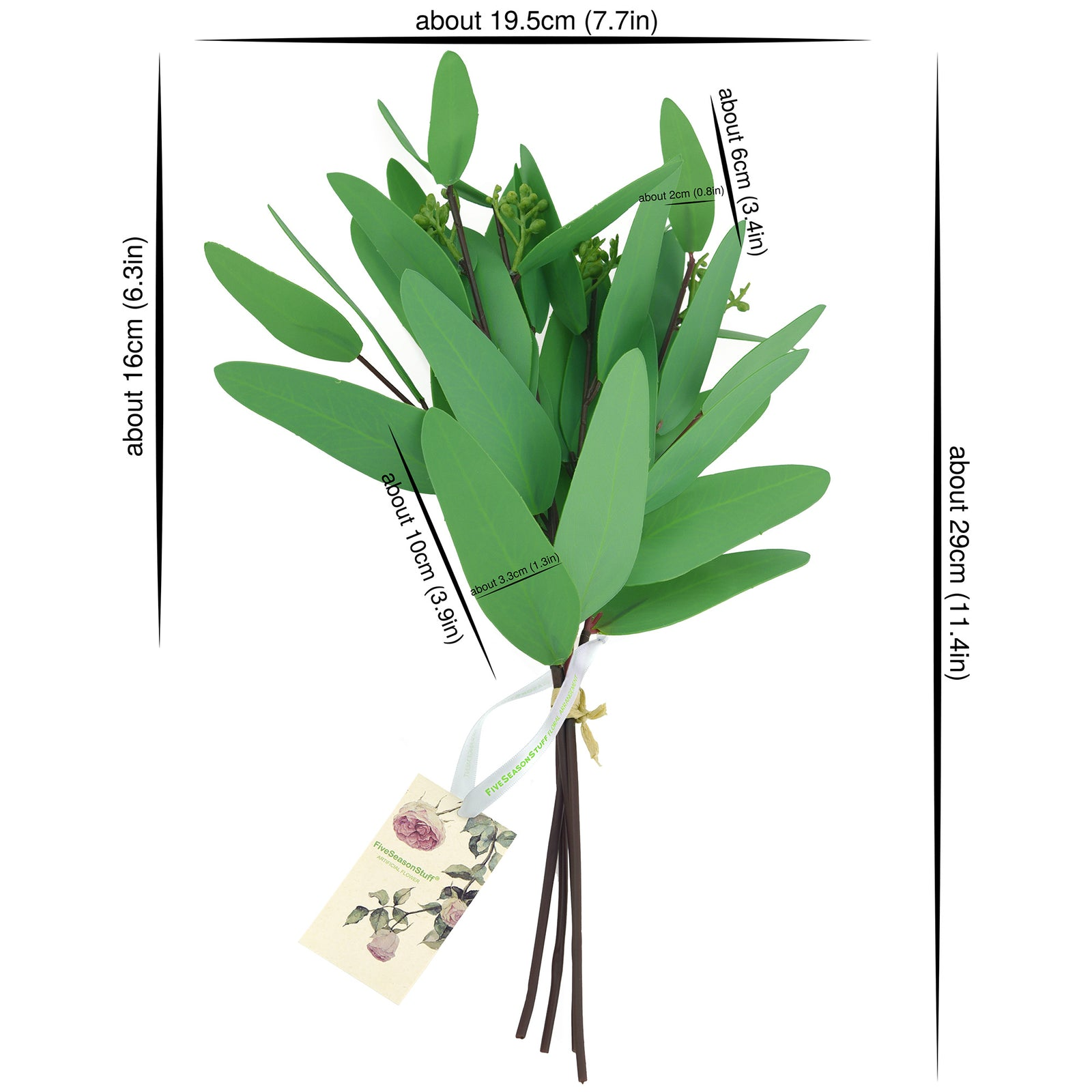 FiveSeasonStuff 4 Pcs Artificial Real Touch Realistic Eucalyptus Leaves Decoration Home Décor (Seeded Eucalyptus Style1 4 Stems)