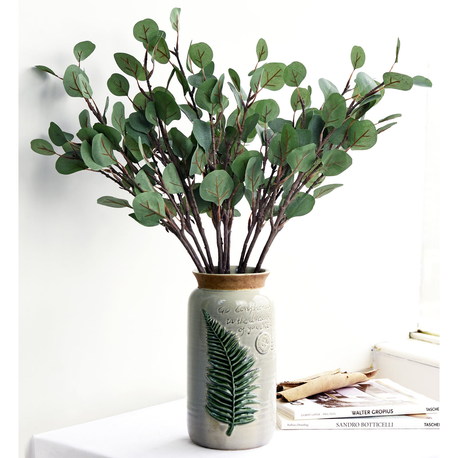 FiveSeasonStuff 6 Pcs Artificial Eucalyptus Leaves Greenery Floral Arrangement Decoration Home Décor (Long Stem Eucalyptus)