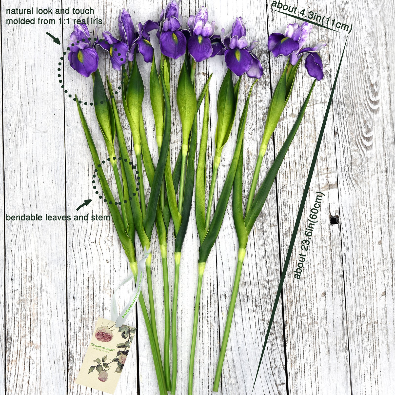 6 Long Stems Iris (Purple) Real Touch Artificial Flower Bouquet