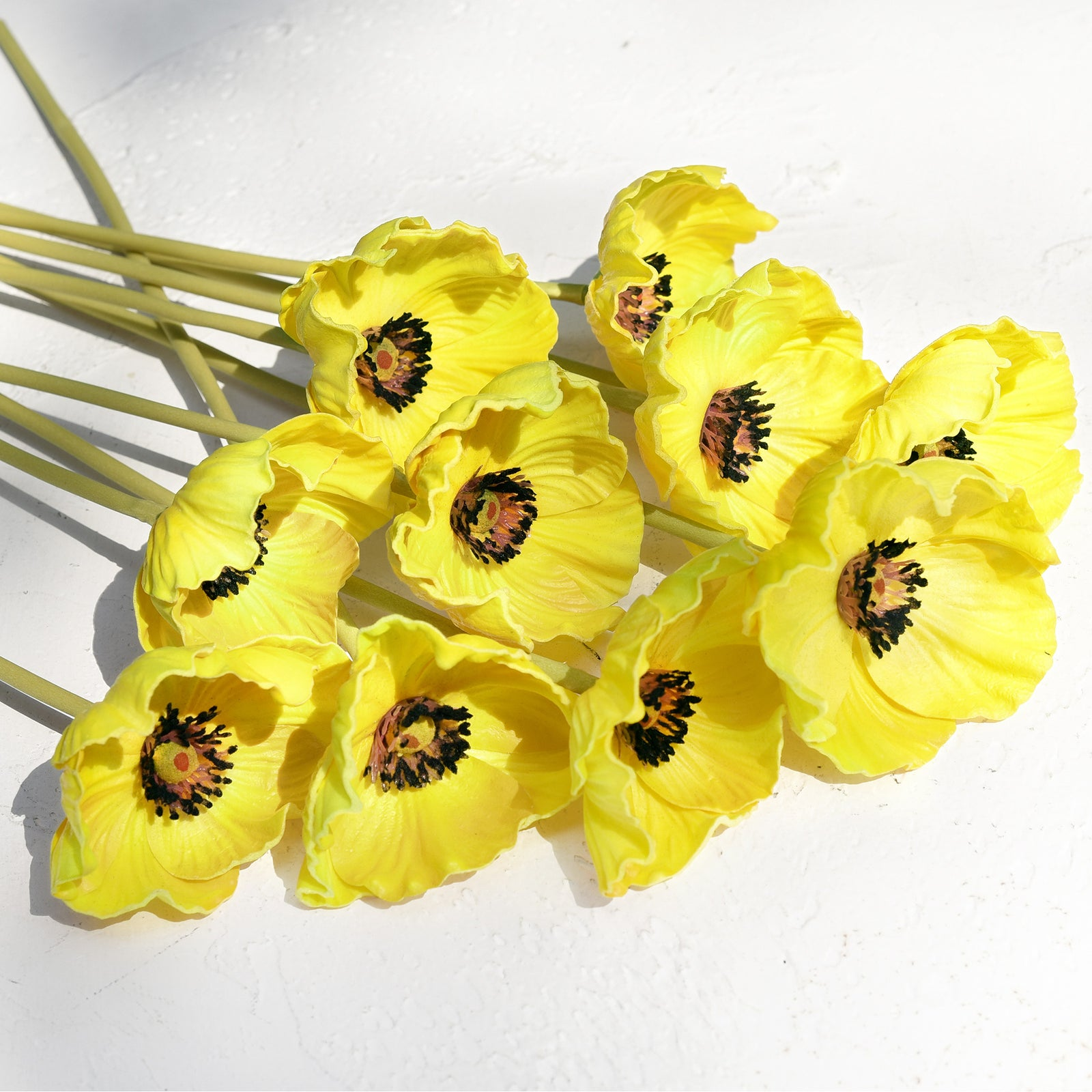FiveSeasonStuff 10 Stems of Real Touch Artificial Poppy Flowers Home Decoration Remembrance Day Yellow Flowers