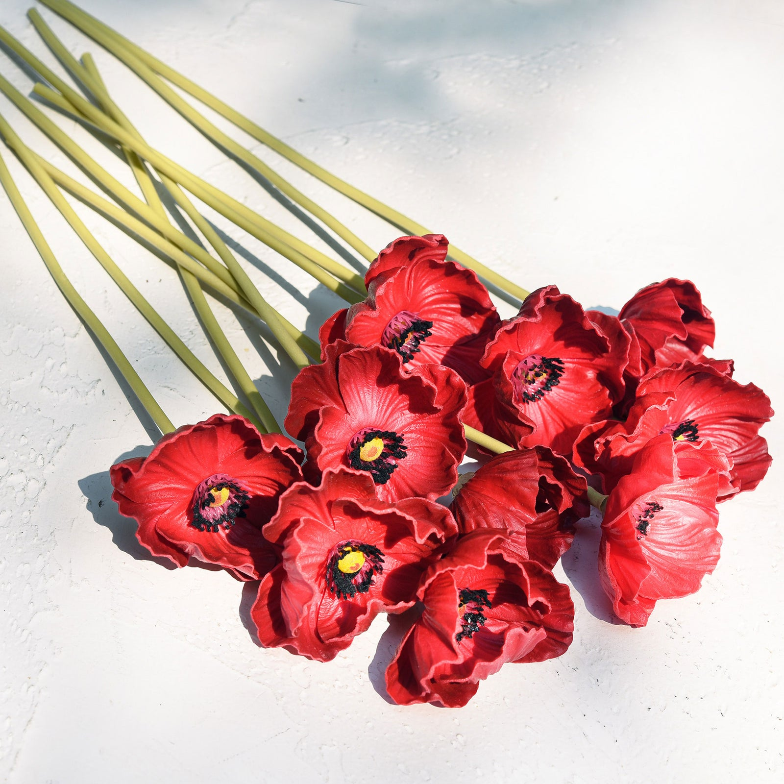 FiveSeasonStuff 10 Stems of Real Touch Artificial Poppy Flowers Remembrance Day Decorations (Red)