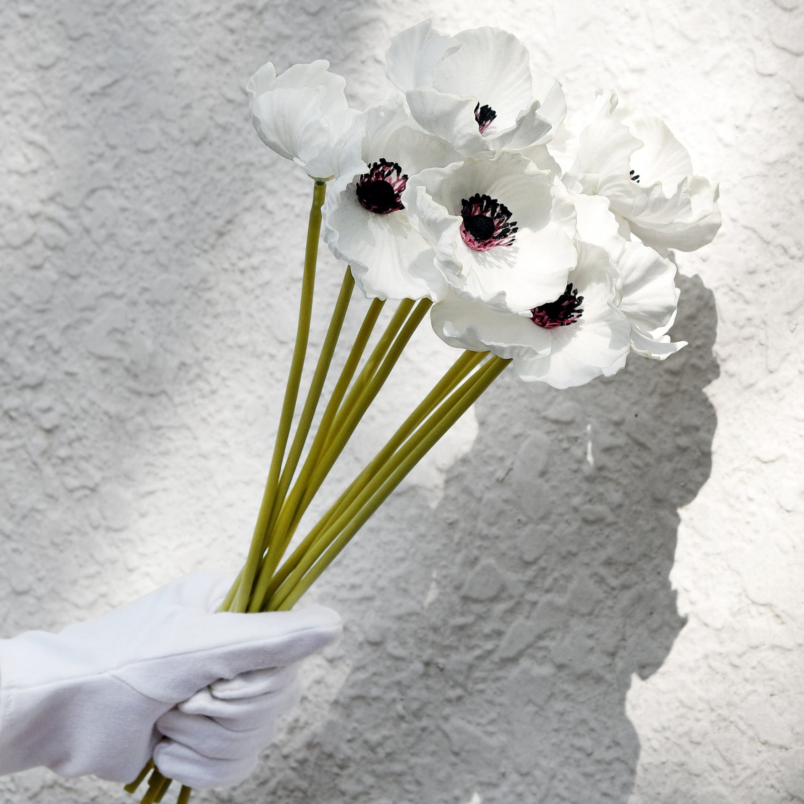 FiveSeasonStuff 10 Stems of Real Touch Artificial Poppy Flowers Remembrance Day Decorations (White)