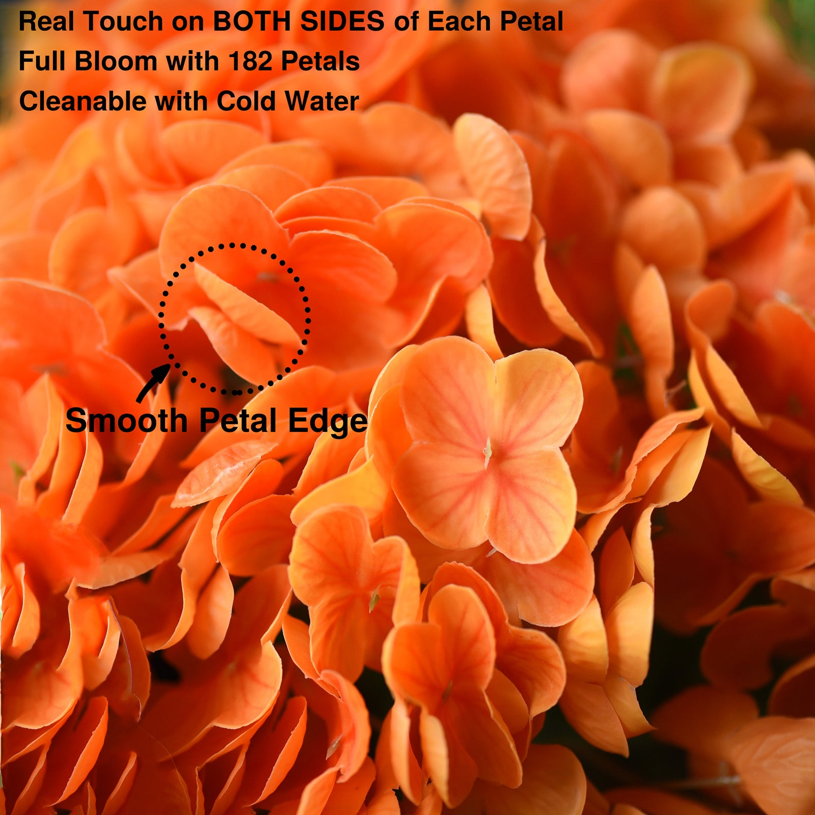 FiveSeasonStuff 2 Stems Real Touch Petals and Leaves Artificial Hydrangea Flowers Long Stem Floral Arrangement | for Wedding Bridal Party Home Décor DIY Floral Decoration (Orange)