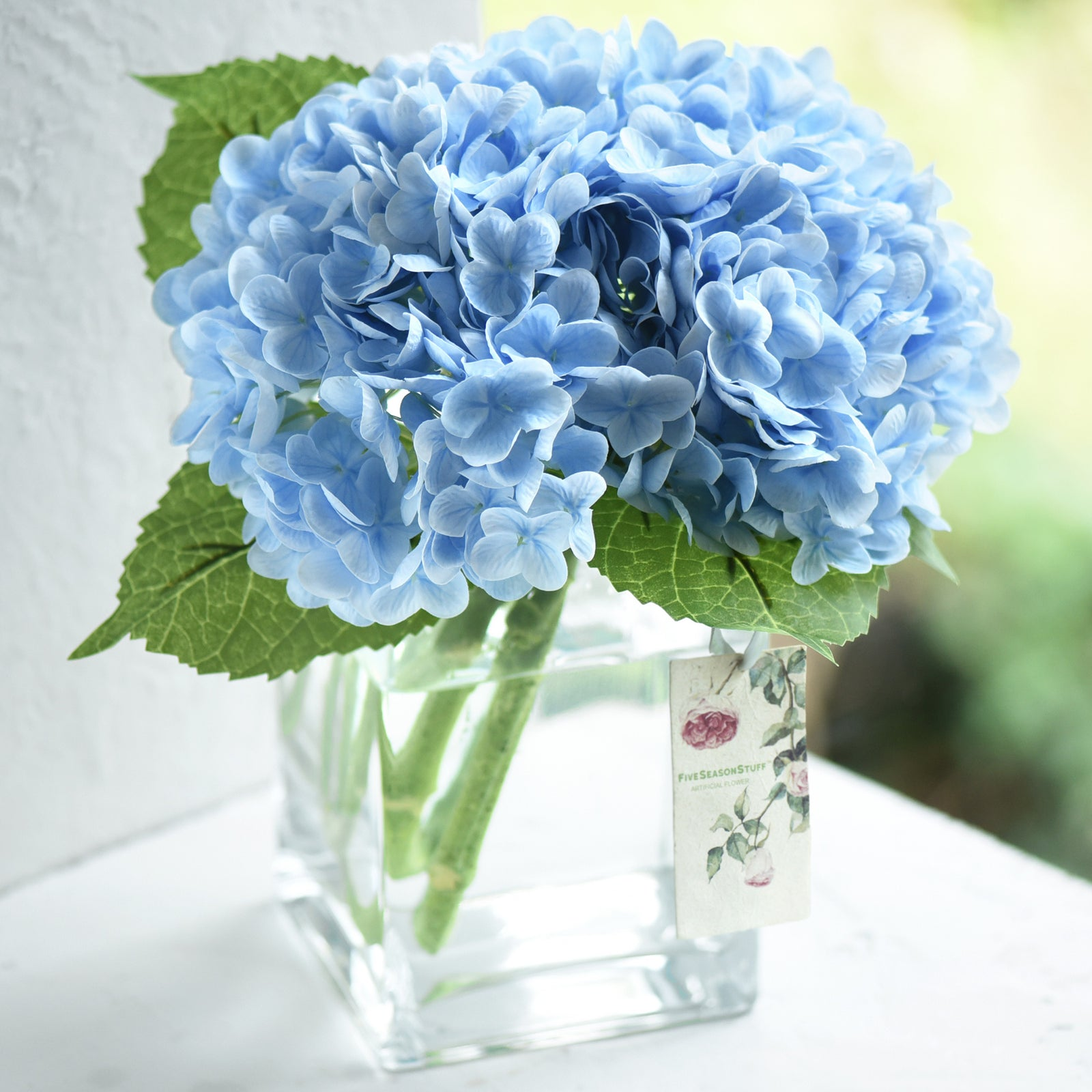 FiveSeasonStuff 2 Stems Real Touch Petals and Leaves Artificial Hydrangea Flowers Long Stem Floral Arrangement | for Wedding Bridal Party Home Décor DIY Floral Decoration (Blue)