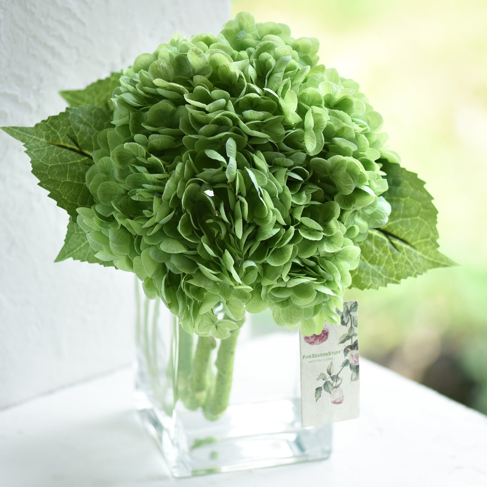 FiveSeasonStuff 2 Stems Real Touch Petals and Leaves Artificial Hydrangea Flowers Long Stem Floral Arrangement | for Wedding Bridal Party Home Décor DIY Floral Decoration (Green)