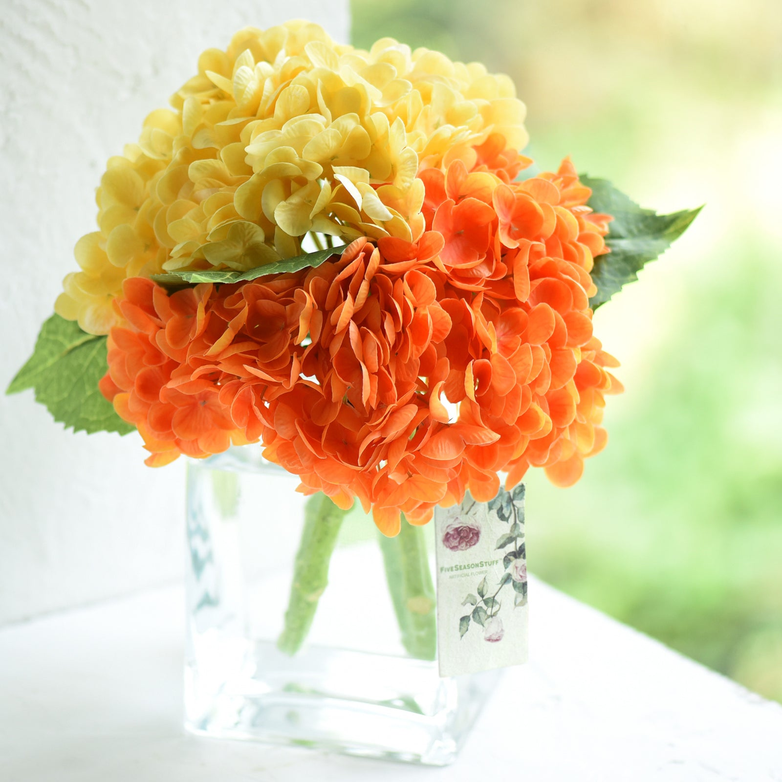 FiveSeasonStuff 2 Stems Real Touch Petals and Leaves Artificial Hydrangea Flowers Long Stem Floral Arrangement | for Wedding Bridal Party Home Décor DIY Floral Decoration (Yellow | Orange)