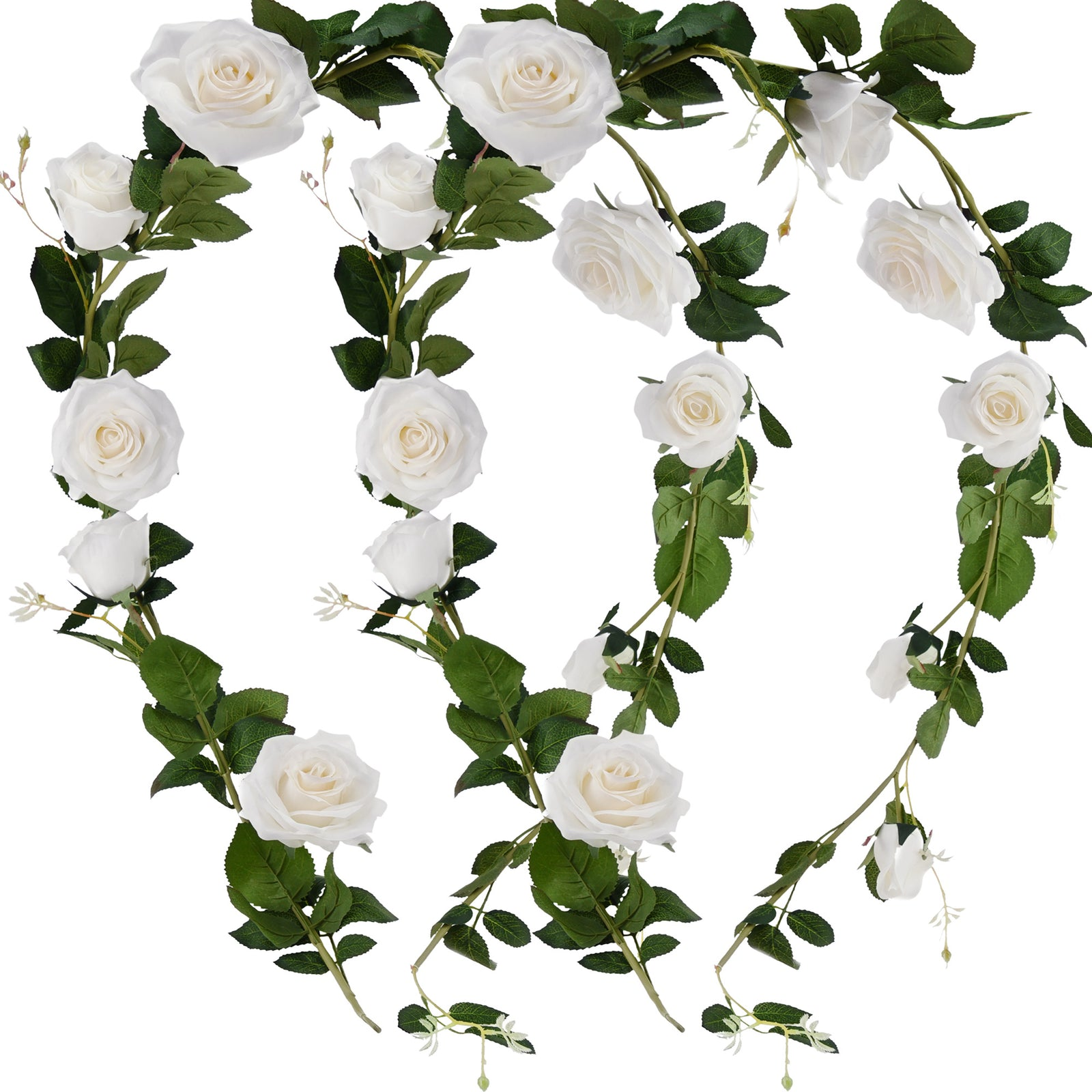FiveSeasonStuff 2 Pcs Bendable Flower Garland Artificial Silk Rose Vine Leaves Hanging Face Flowers for Wall Decoration, Wreaths (White)