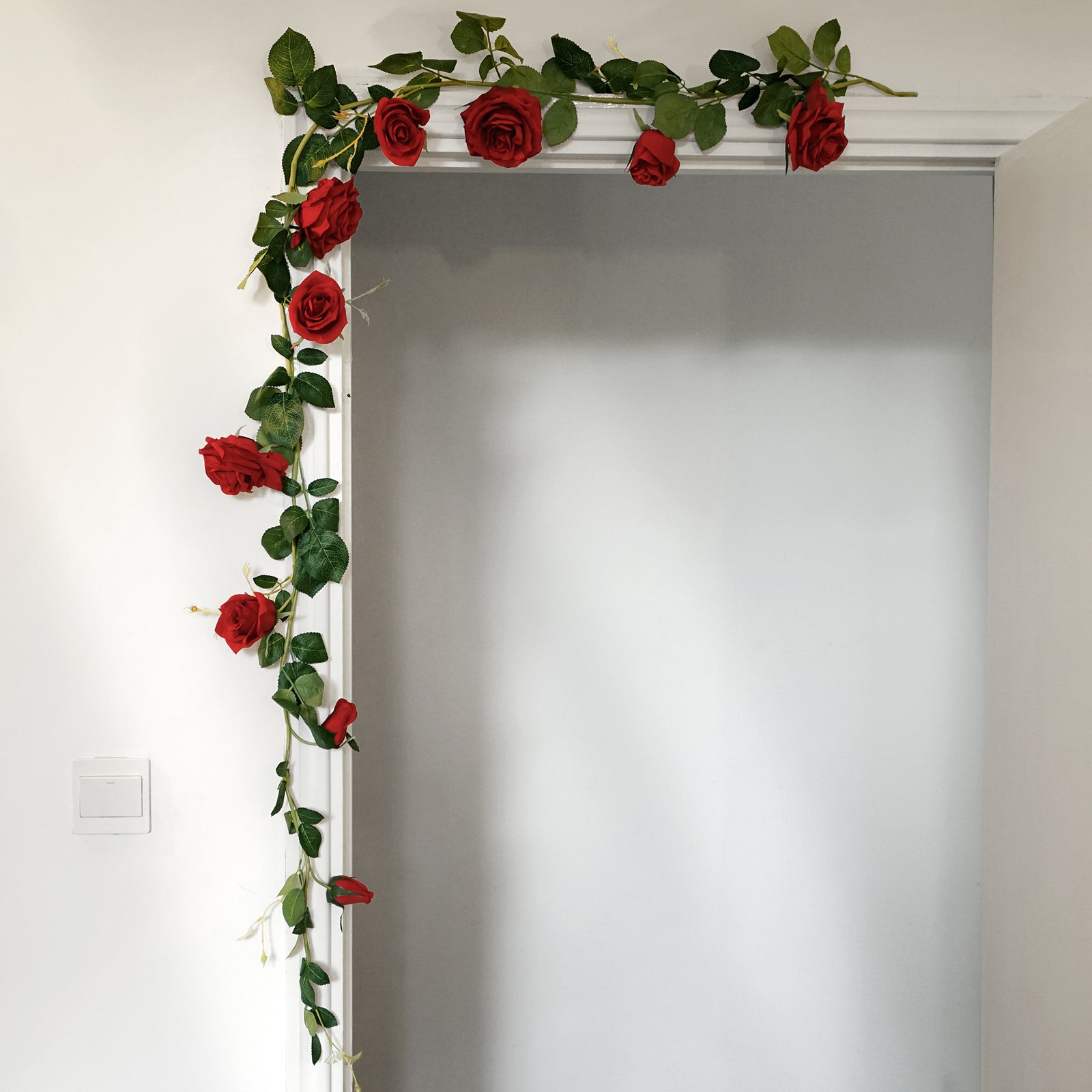 FiveSeasonStuff 2 Pcs Bendable Flower Garland Artificial Silk Rose Vine Leaves Hanging Face Flowers for Wall Decoration, Wreaths (Red)