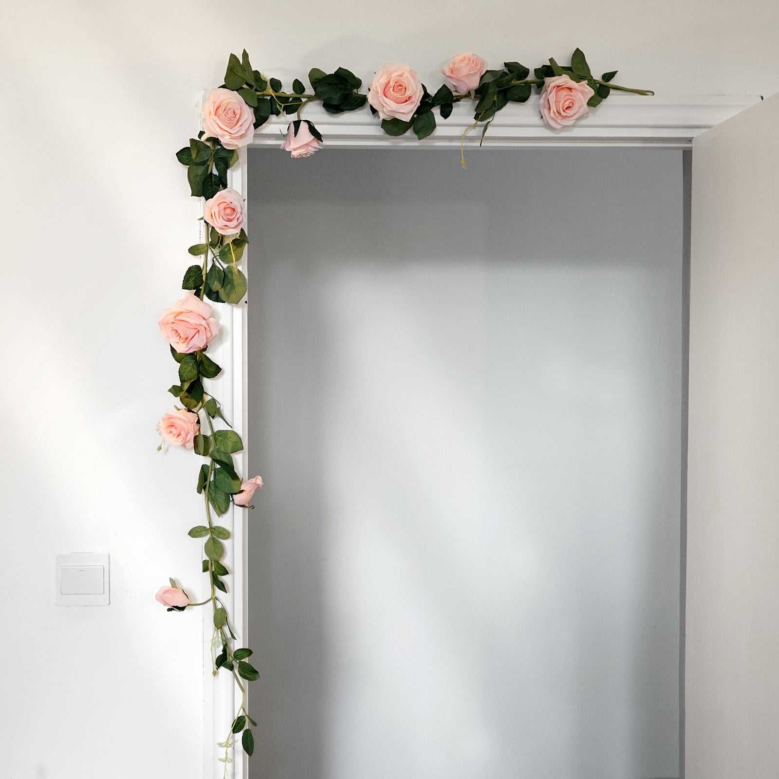FiveSeasonStuff 2 Pcs Bendable Flower Garland Artificial Silk Rose Vine Leaves Hanging Face Flowers for Wall Decoration, Wreaths (Pink)