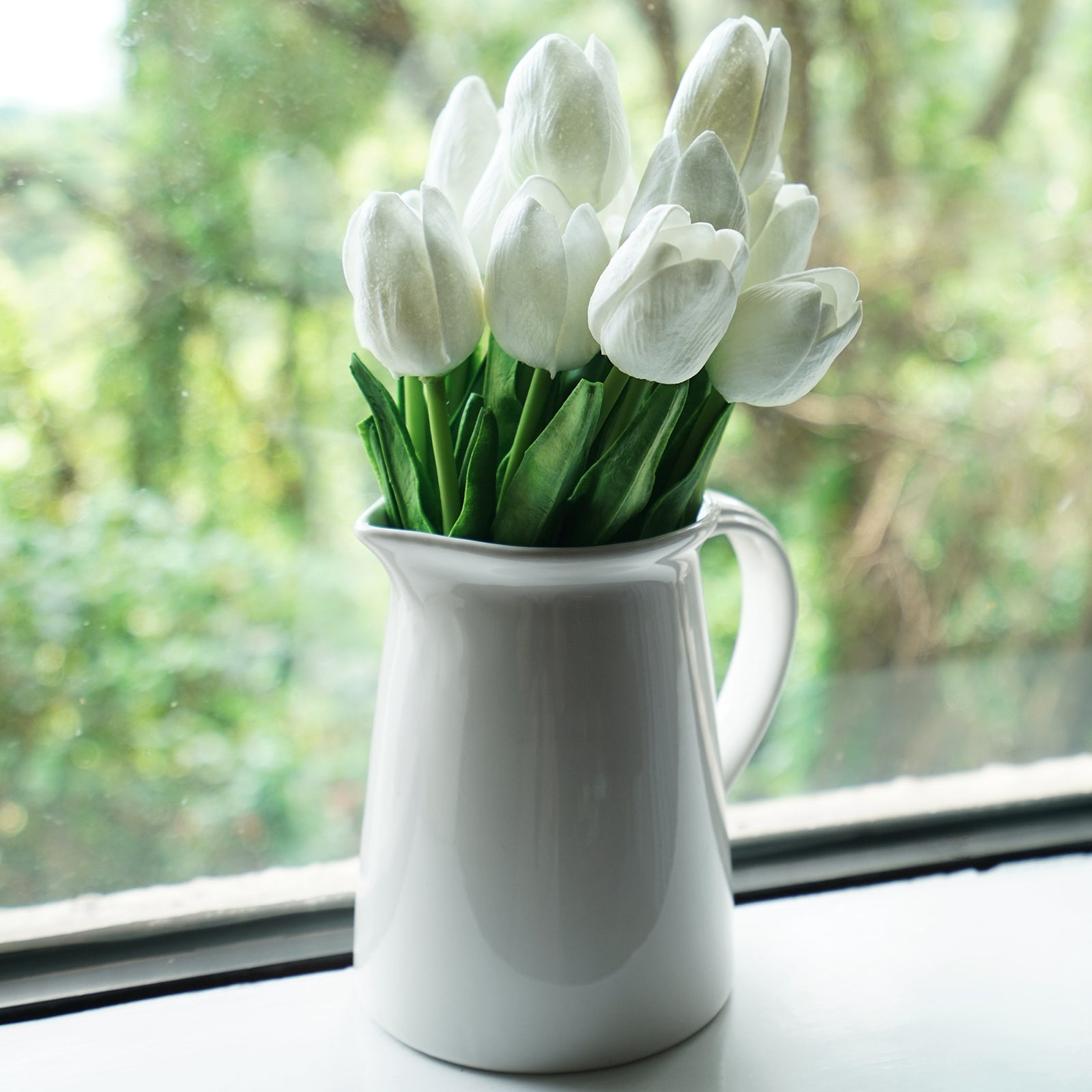 White Real Touch Tulips Artificial Flowers Bouquet 10 Stems