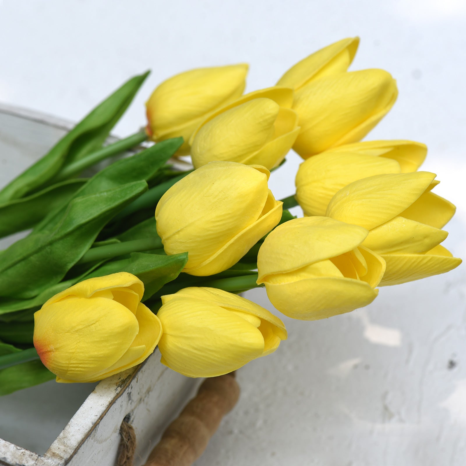 Yellow Real Touch Tulips Artificial Flowers Bouquet 10 Stems