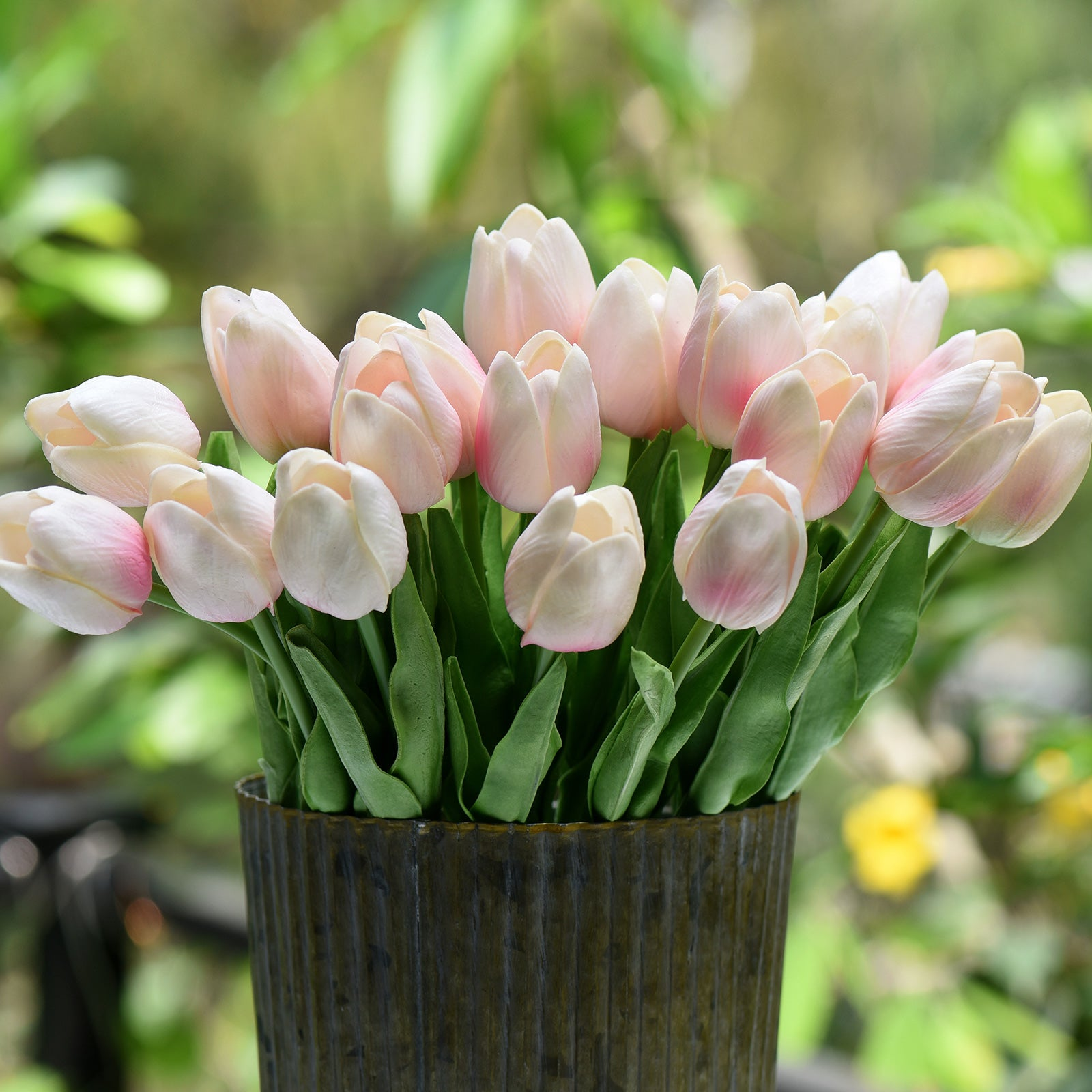 Blush Pink Real Touch Tulips Artificial Flowers Bouquet 10 Stems