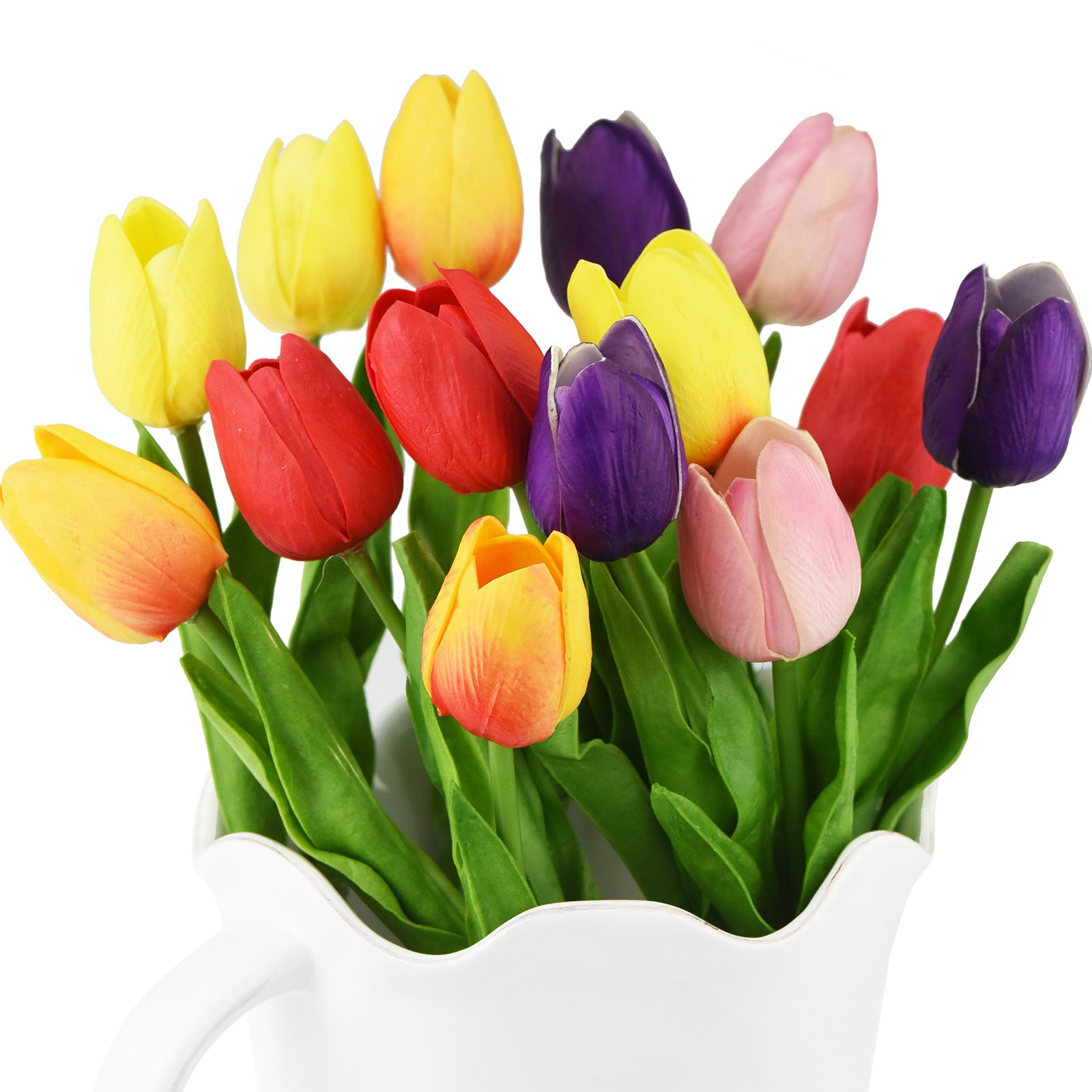 Mix Rainbow Color Real Touch Tulips Artificial Flowers Bouquet 15 Stems