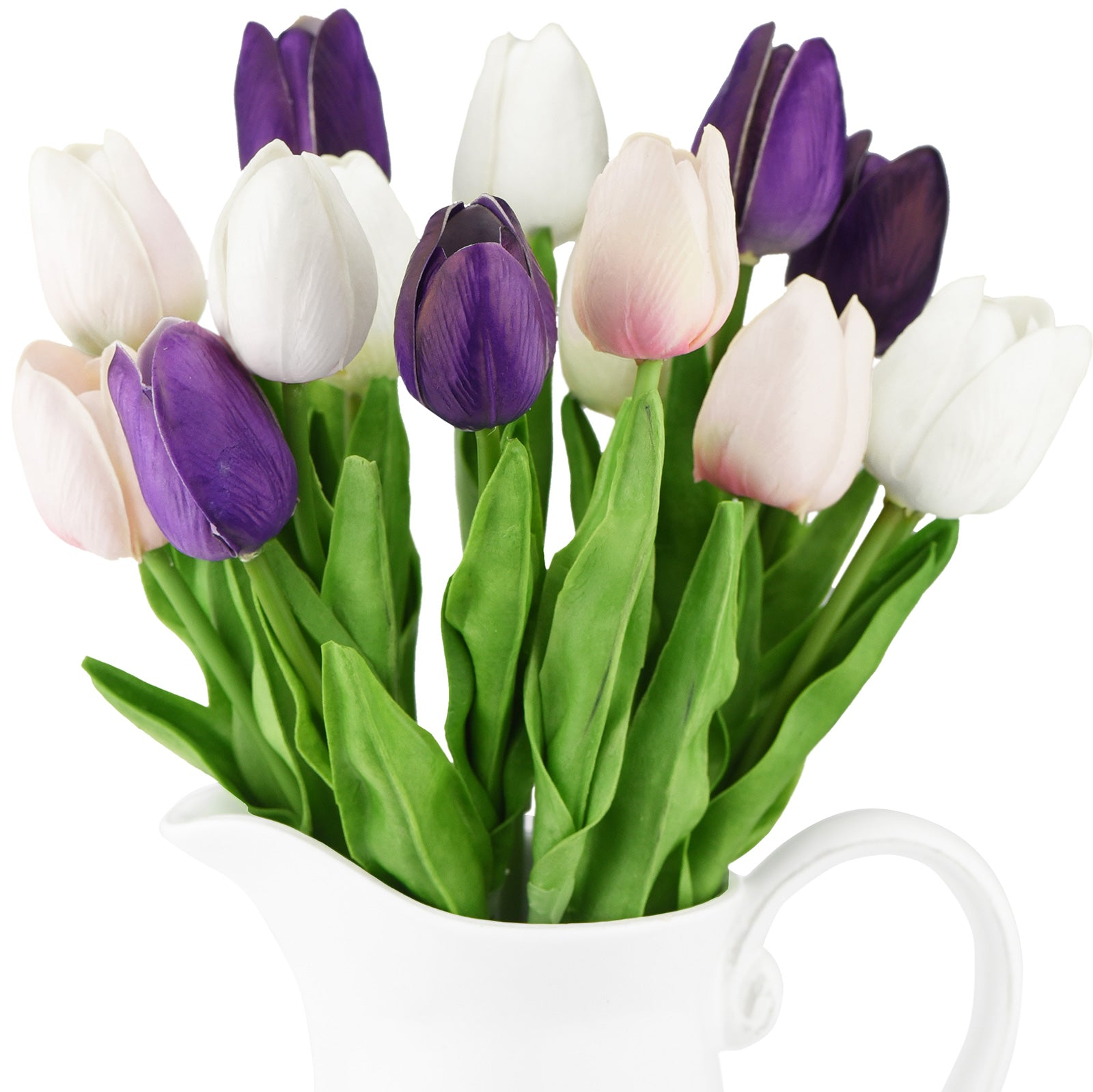 Mix White and Purple Real Touch Tulips Artificial Flowers Bouquet 15 Stems