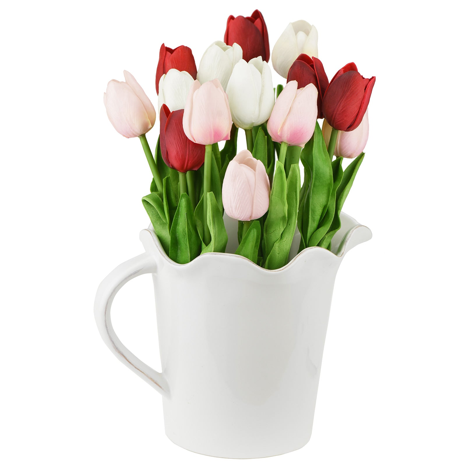 Mix Red and Pink Real Touch Tulips Artificial Flowers Bouquet 15 Stems