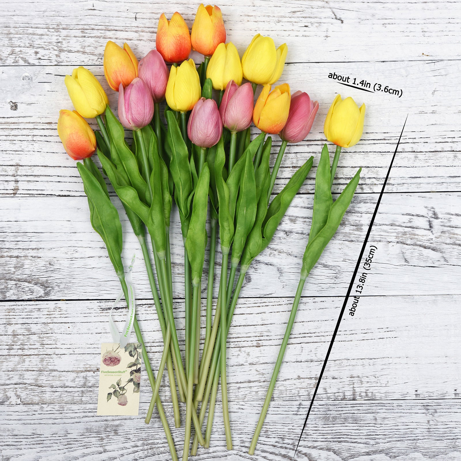 Mix Orange and Yellow Real Touch Tulips Artificial Flowers Bouquet 15 Stems