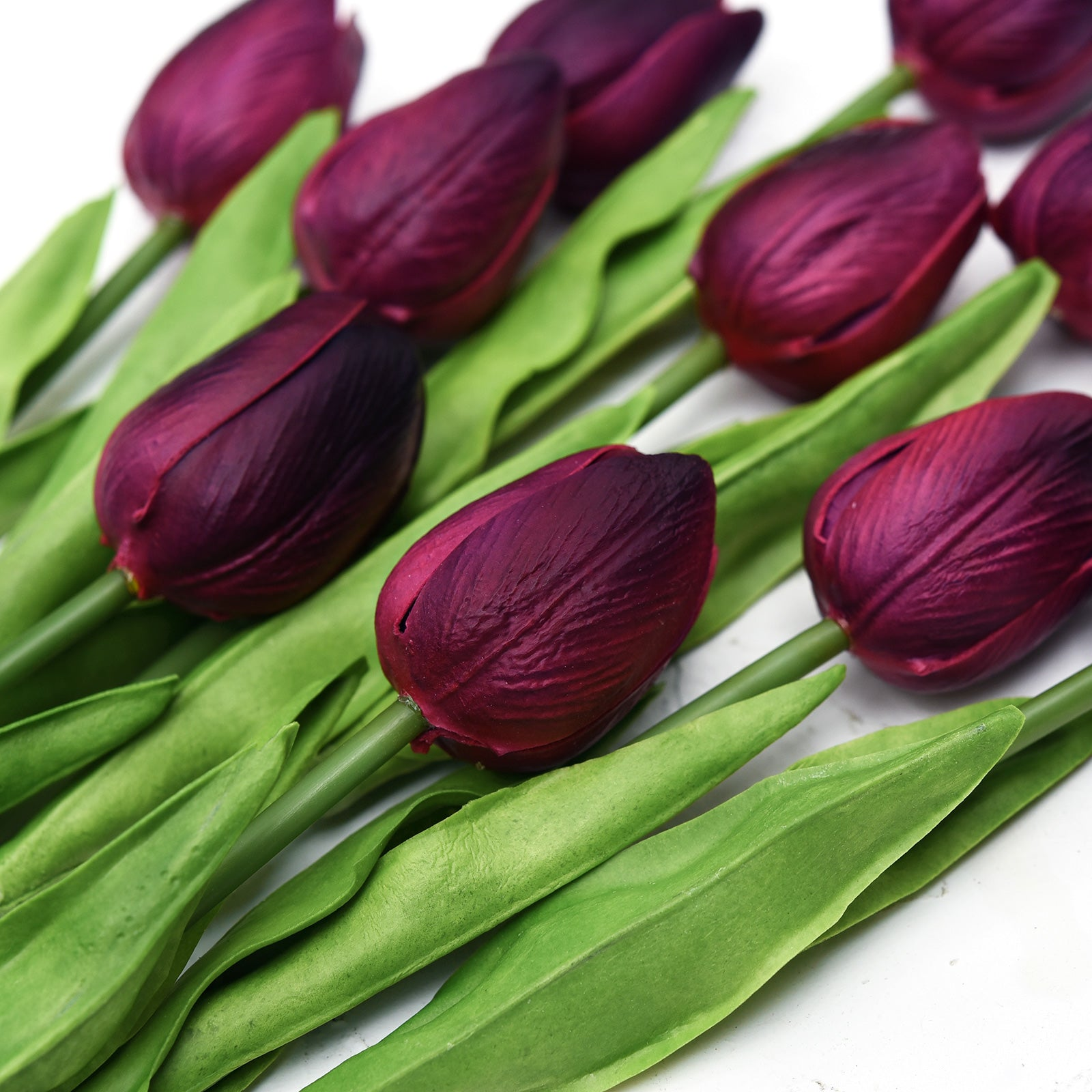 Dark Scarlet Real Touch Tulips Artificial Flowers Bouquet 10 Stems