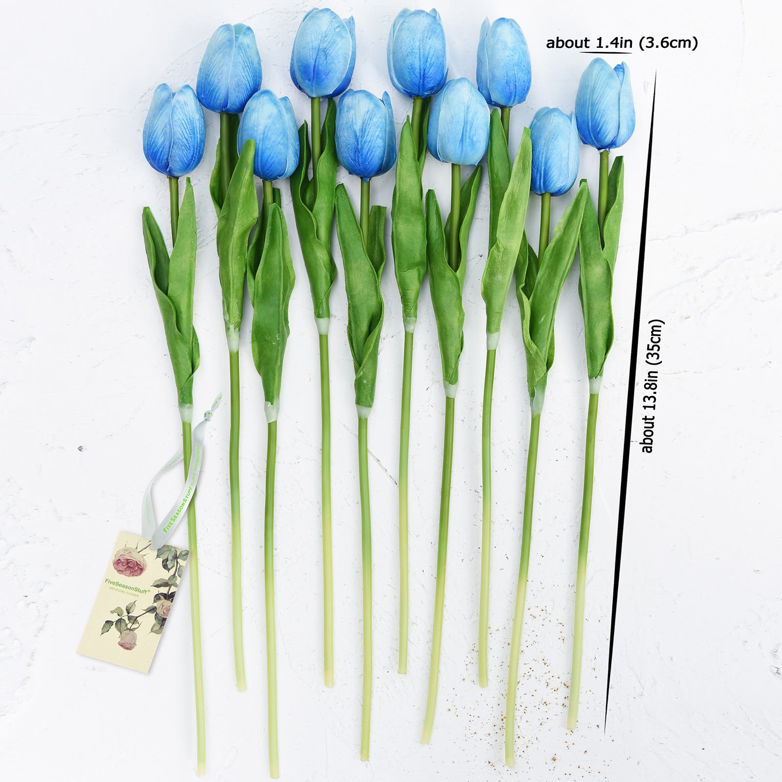 Blue Real Touch Tulips Artificial Flowers Bouquet 10 Stems
