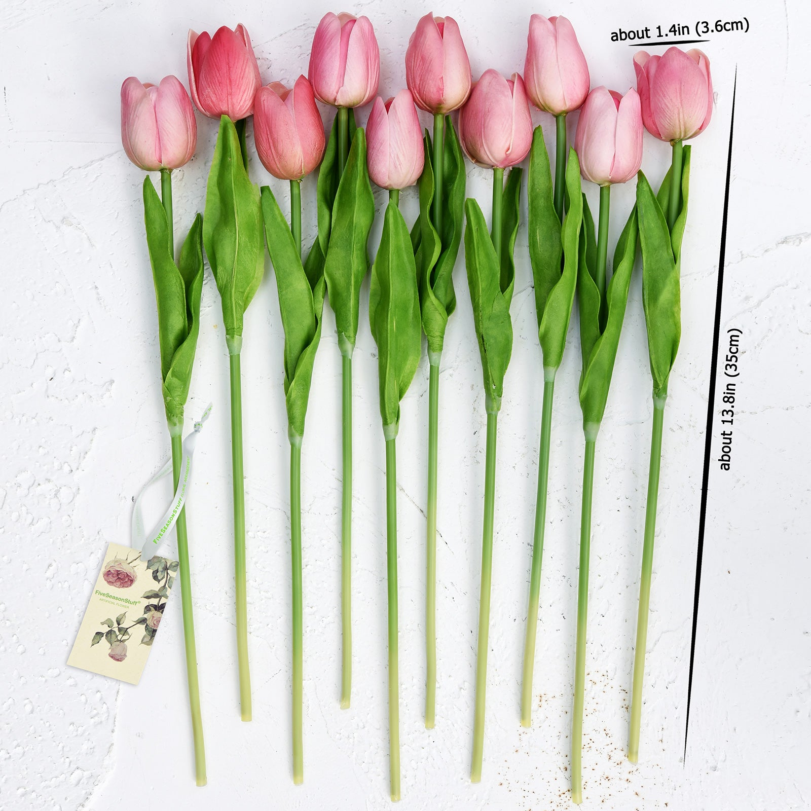 Pink Real Touch Tulips Artificial Flowers Bouquet 10 Stems