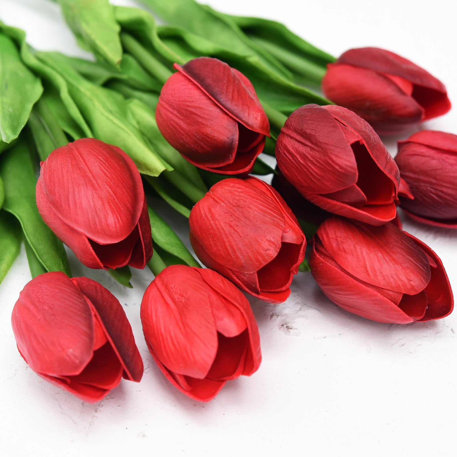 Dark Red Real Touch Tulips Artificial Flowers Bouquet 10 Stems