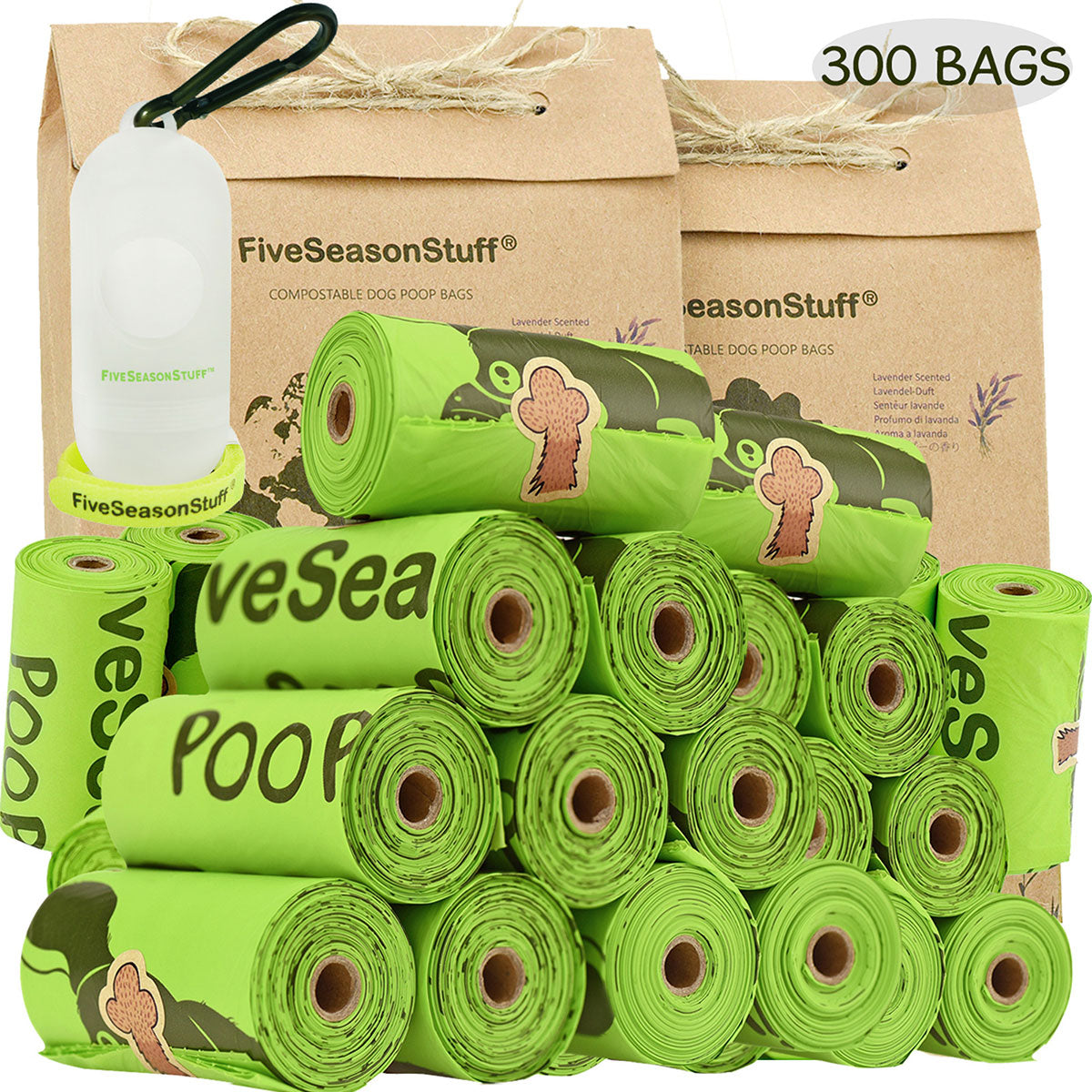 FiveSeasonStuff 300 Bags and Lease Holder 100% Biodegradable & Compostable Leak Proof Dog Poop Bag (Lavender-Scented)
