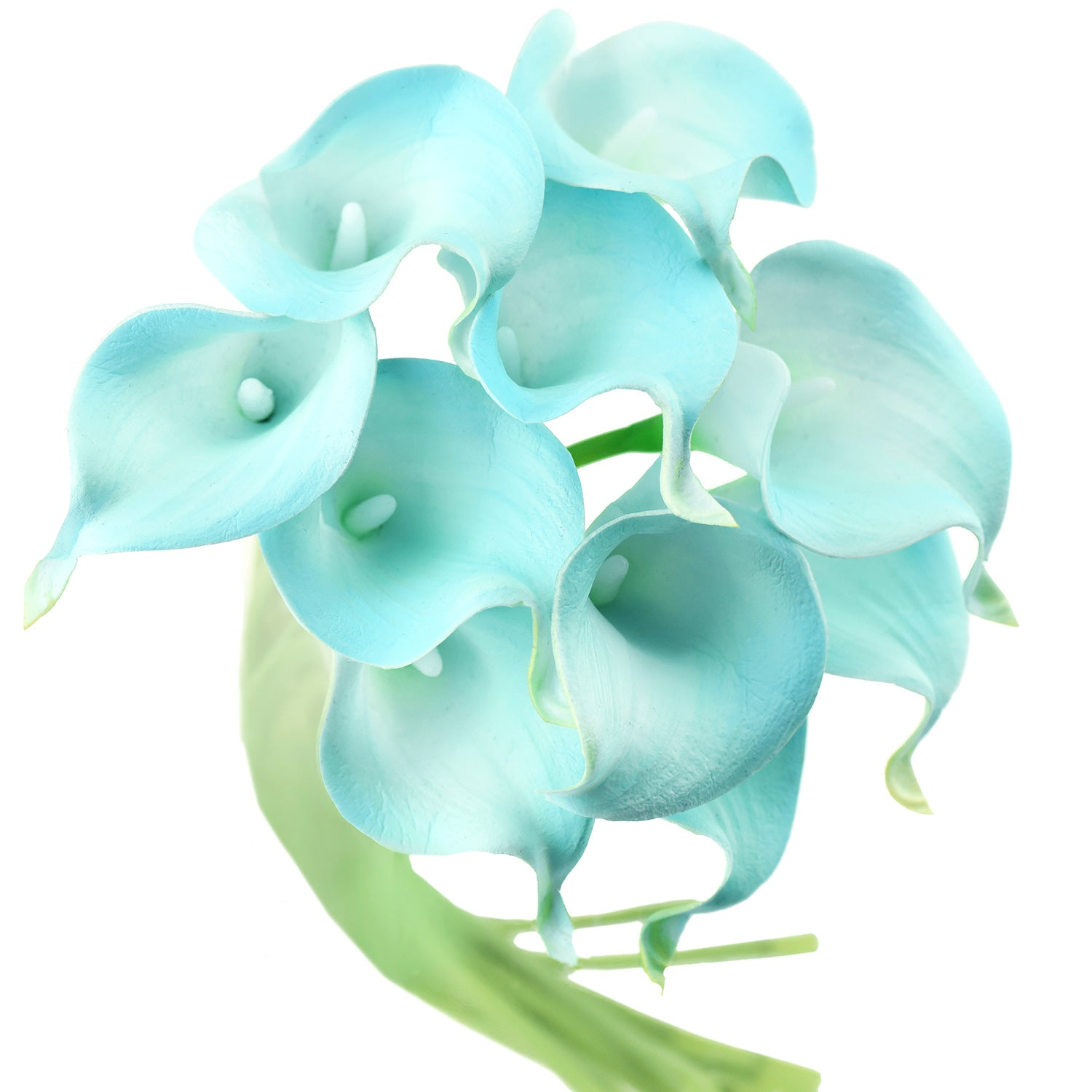 Aqua Blue Real Touch Calla Lilies Artificial Flower Bouquet 10 Stems
