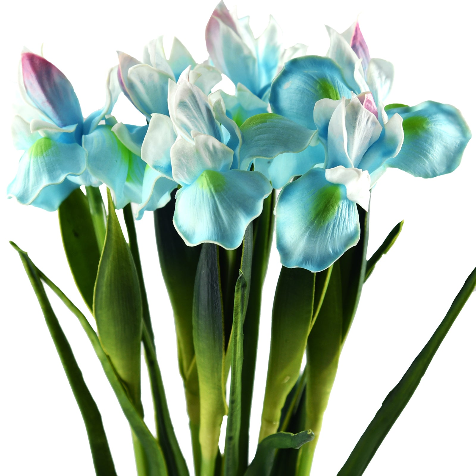 6 Long Stems Iris (Icy Blue) Real Touch Artificial Flower Bouquet