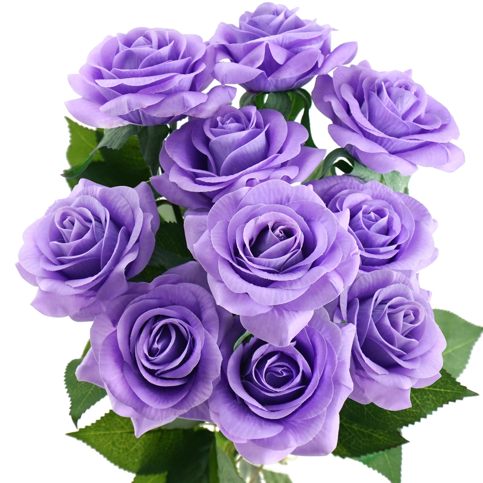 Real Touch 10 Stems Lilac Silk Artificial Roses Flowers 'Petals Feel and Look like Fresh Roses'