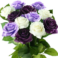 Real Touch 12 Stems Dark Purple | White Mix Silk Artificial Roses Flowers 'Petals Feel and Look like Fresh Roses'