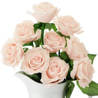 Real Touch 10 Stems Pale Champagne Pink Silk Artificial Roses Flowers 'Petals Feel and Look like Fresh Roses