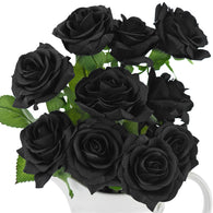 Real Touch 10 Stems Black Silk Artificial Roses Flowers 'Petals Feel and Look like Fresh Roses