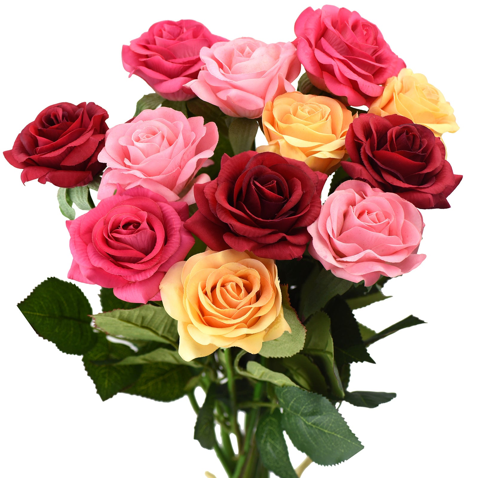 "Real Touch 12 Stems ""Gracious Medley"" Mix Color Silk Artificial Roses Flowers 'Petals Feel and Look like Fresh Roses"
