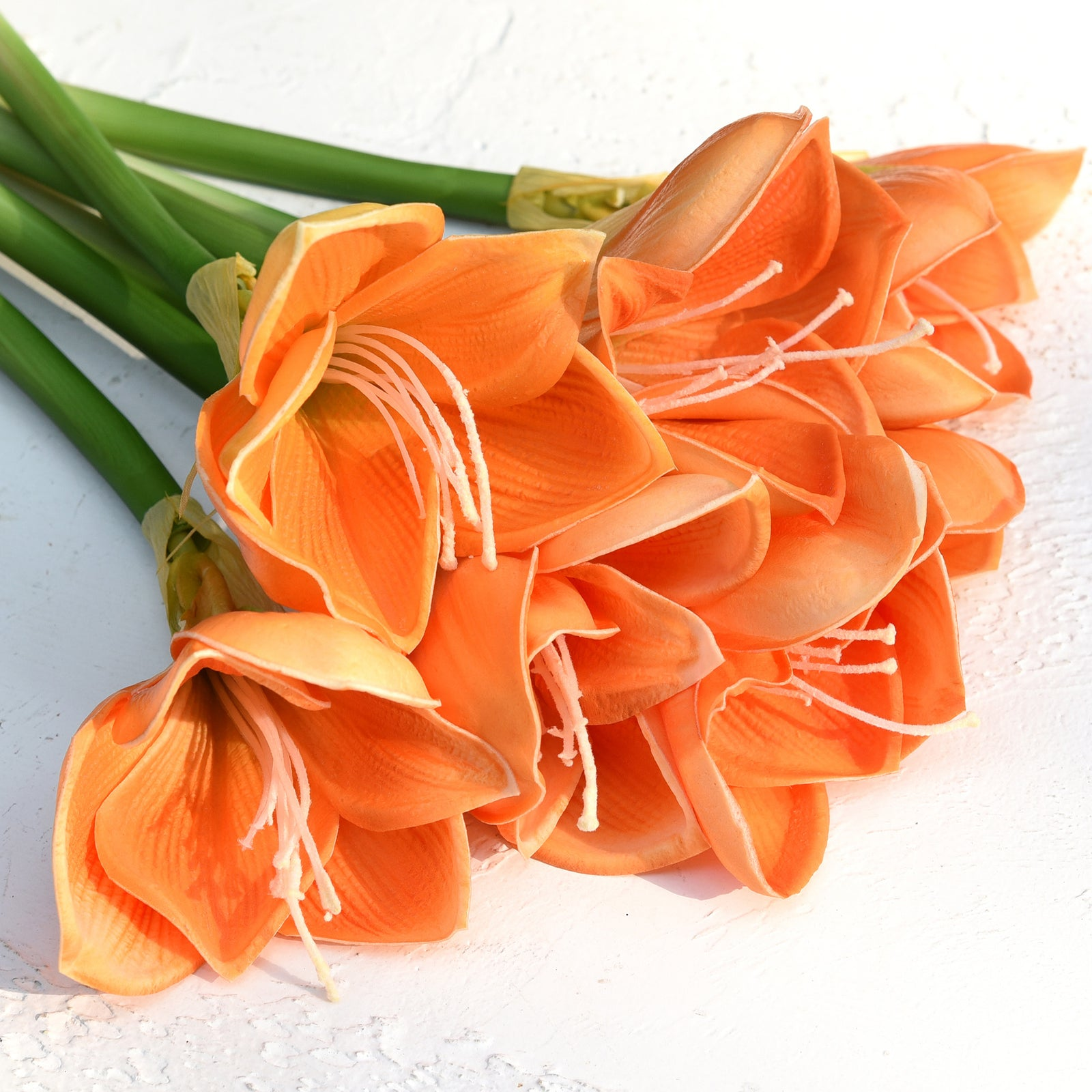 7 Stems Artificial Real Touch Orange Clivia Flowers & Bouquet 11.8 Inches (30cm)
