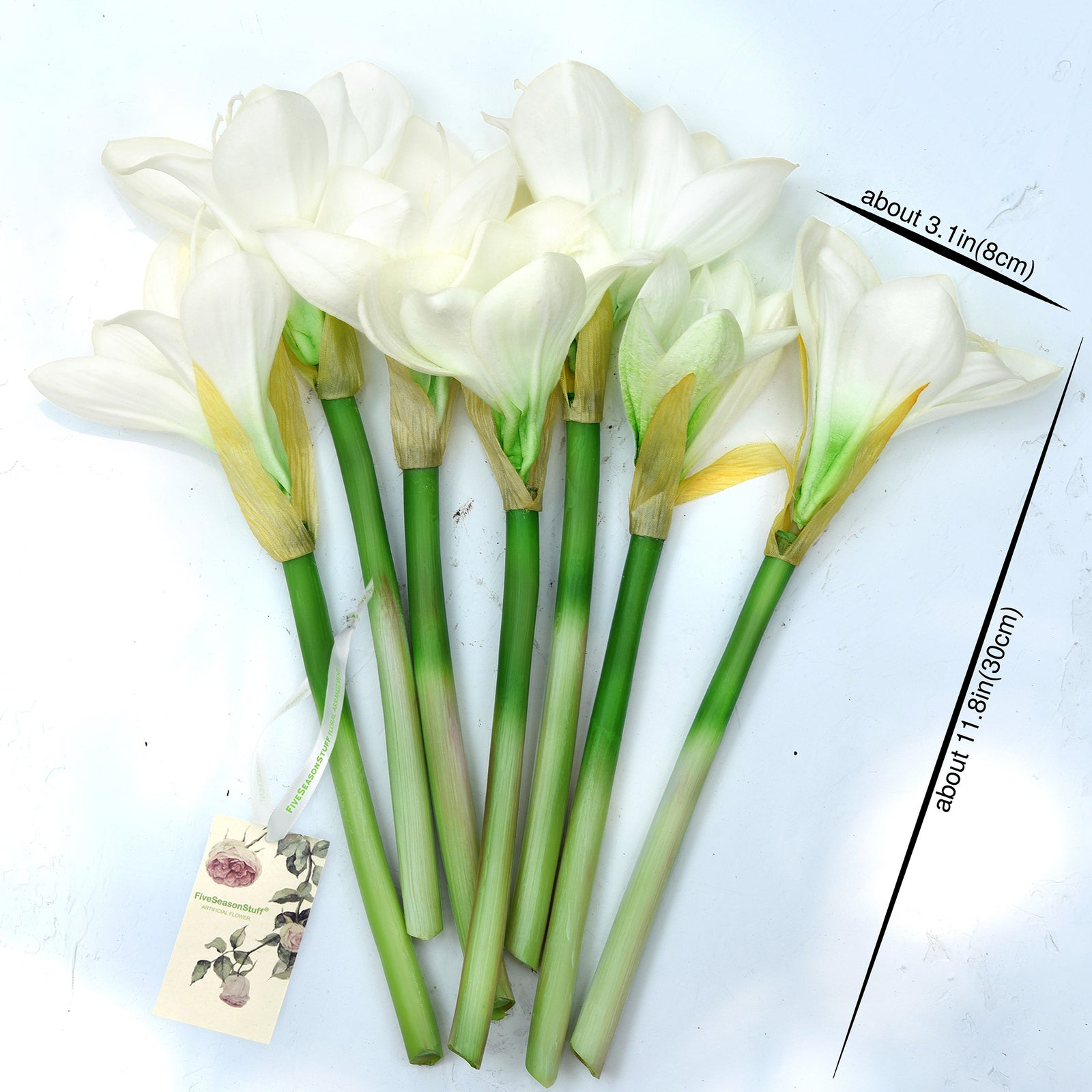 7 Stems Artificial Real Touch Cream White Clivia Flowers & Bouquet 11.8 Inches (30cm)