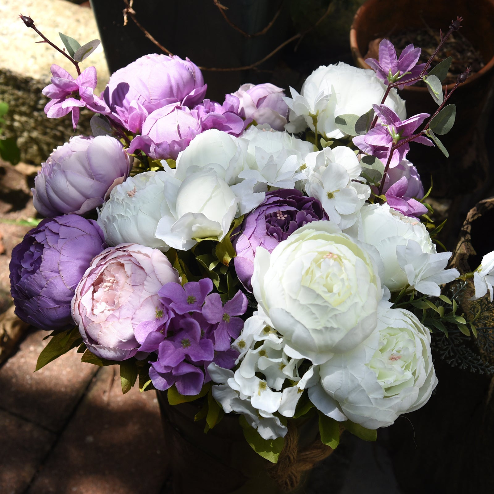 FiveSeasonStuff 2 Bundles White|Purple Silk Peonies Artificial Flower Bouquet