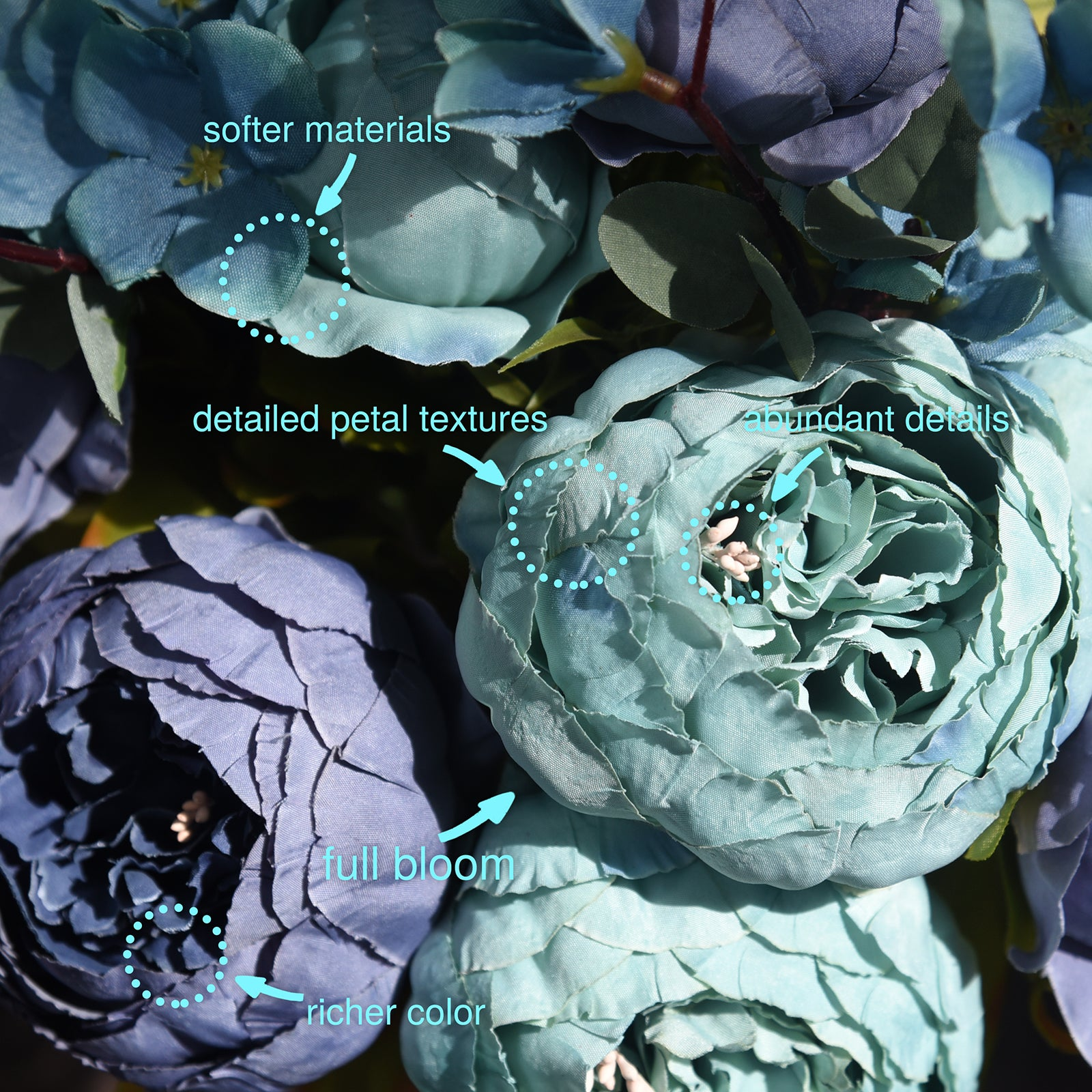 Mixed Blue Silk Peonies Artificial Flower Bouquet