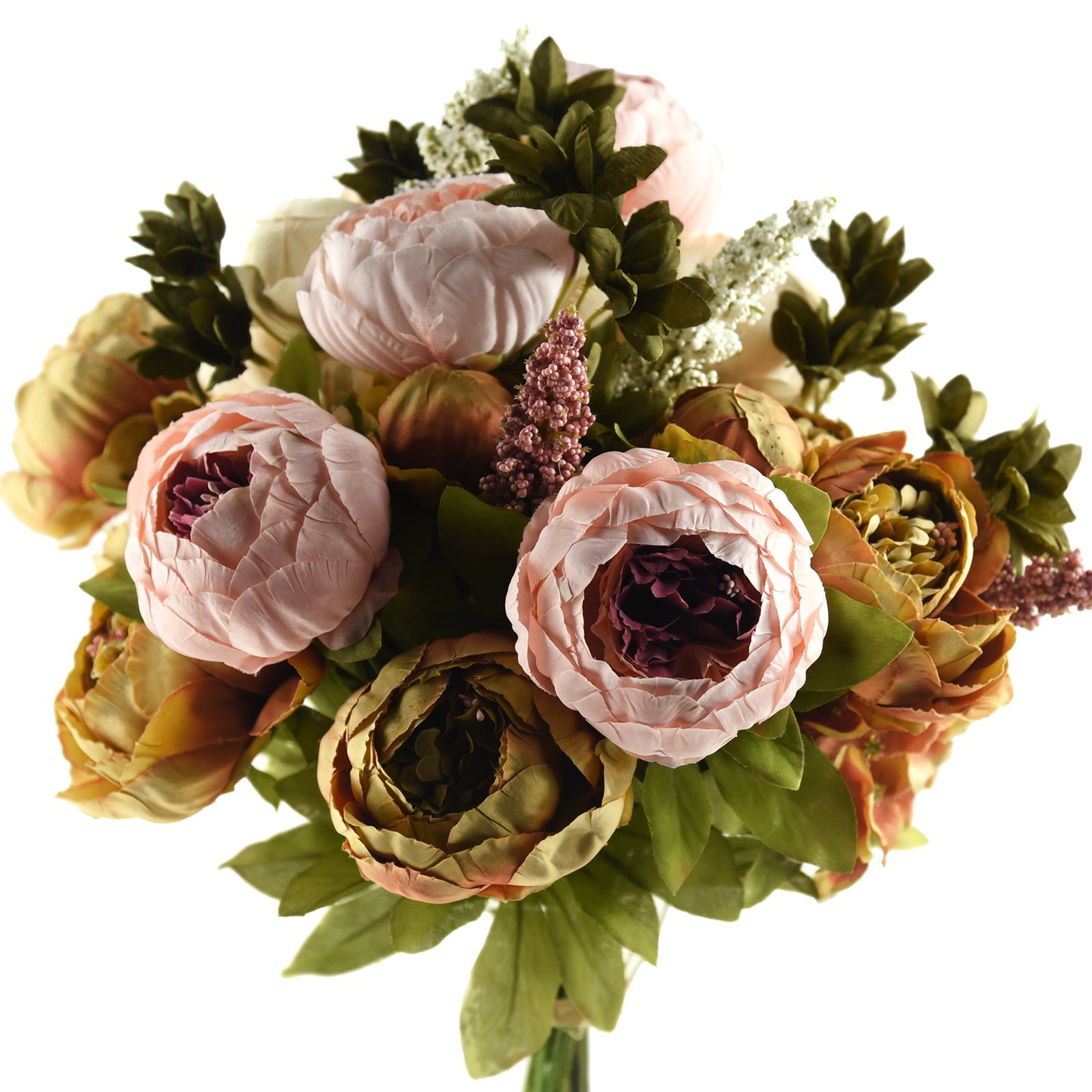 FiveSeasonStuff 2 Bundles Brown|Pink Peonies Artificial Flower Bouquet