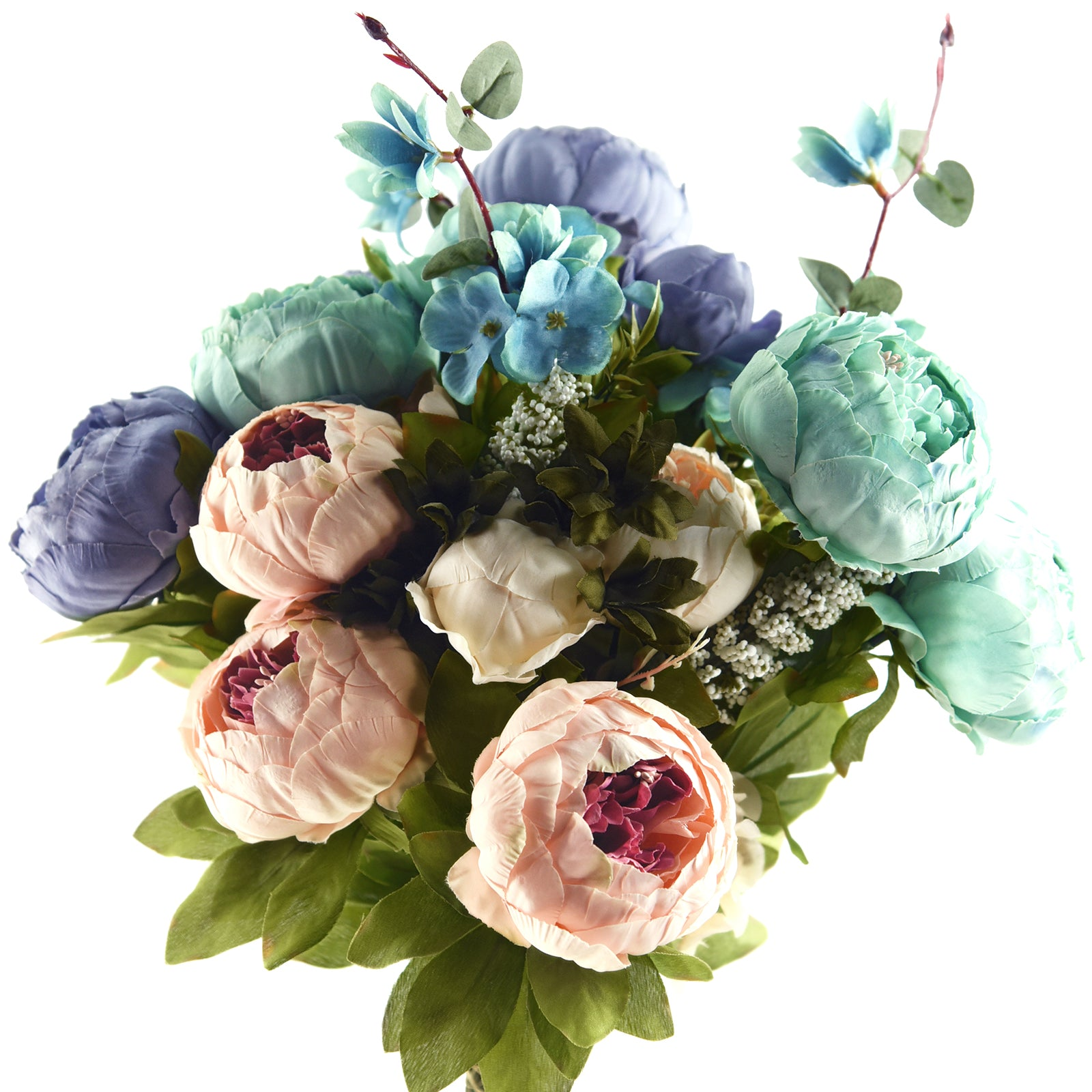 FiveSeasonStuff 2 Bundles Blue|Pink Peonies Artificial Flower Bouquet