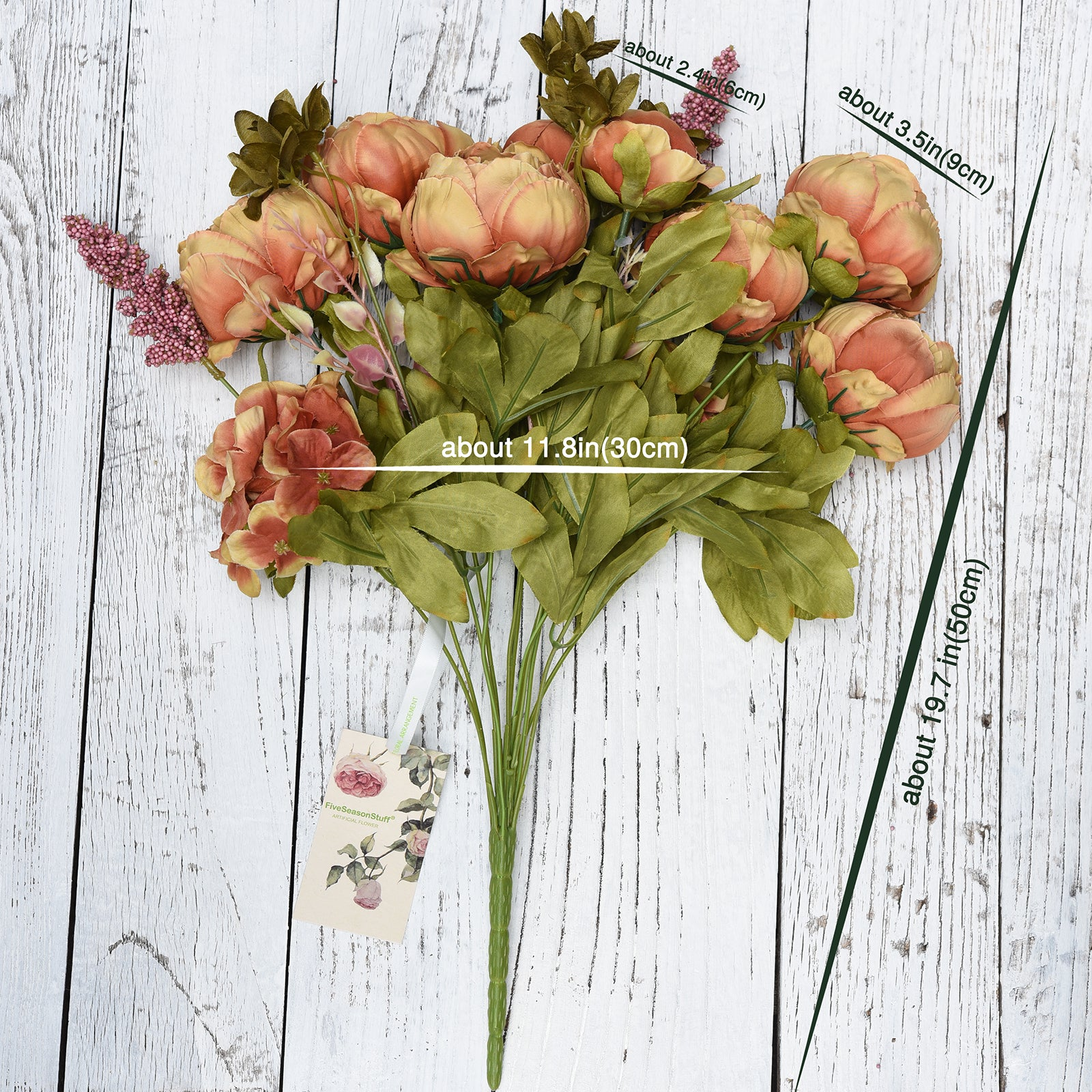 FiveSeasonStuff 2 Bundles Brown|Green Peonies Artificial Flower Bouquet