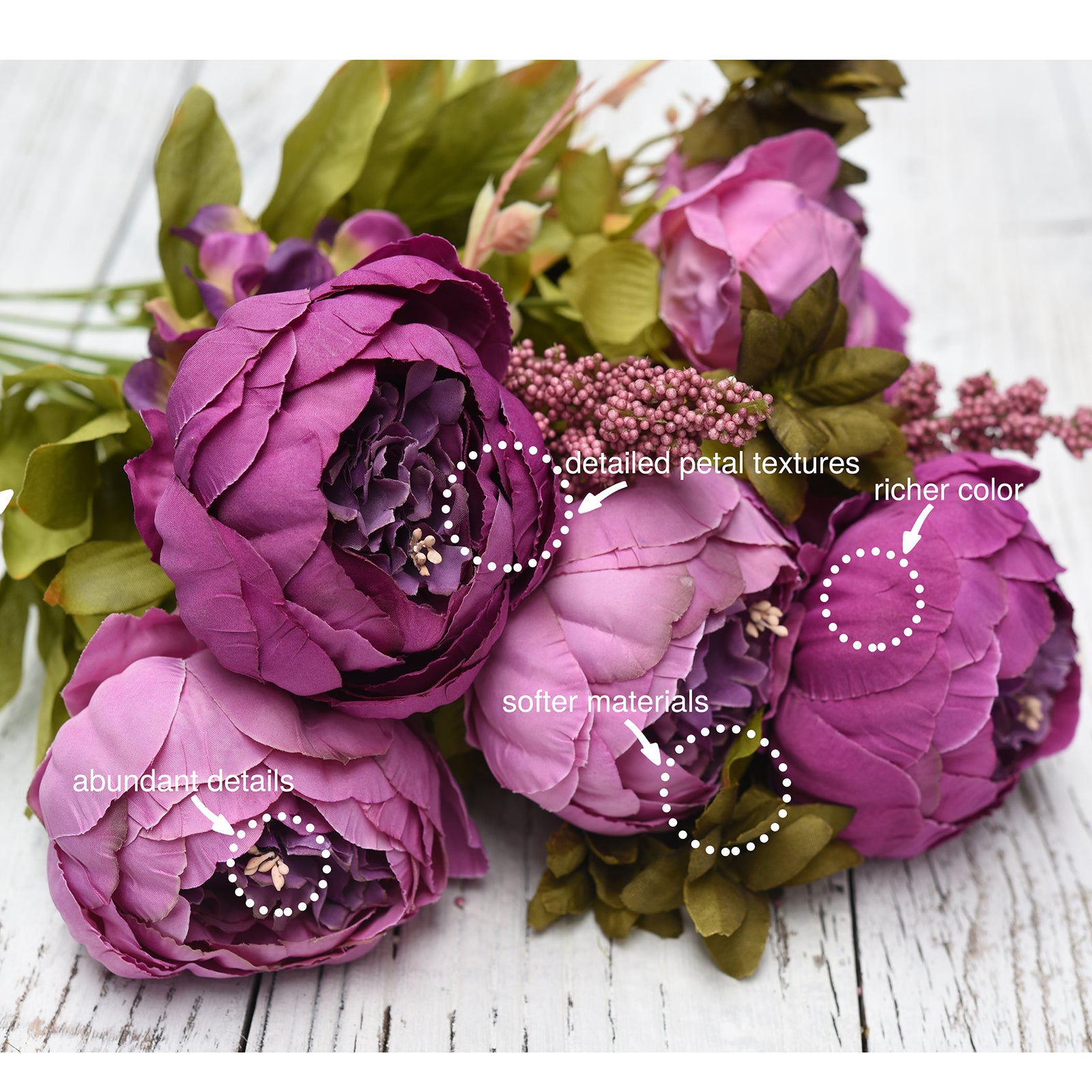 FiveSeasonStuff 2 Bundles Plum Purple|White Peonies Artificial Flower Bouquet