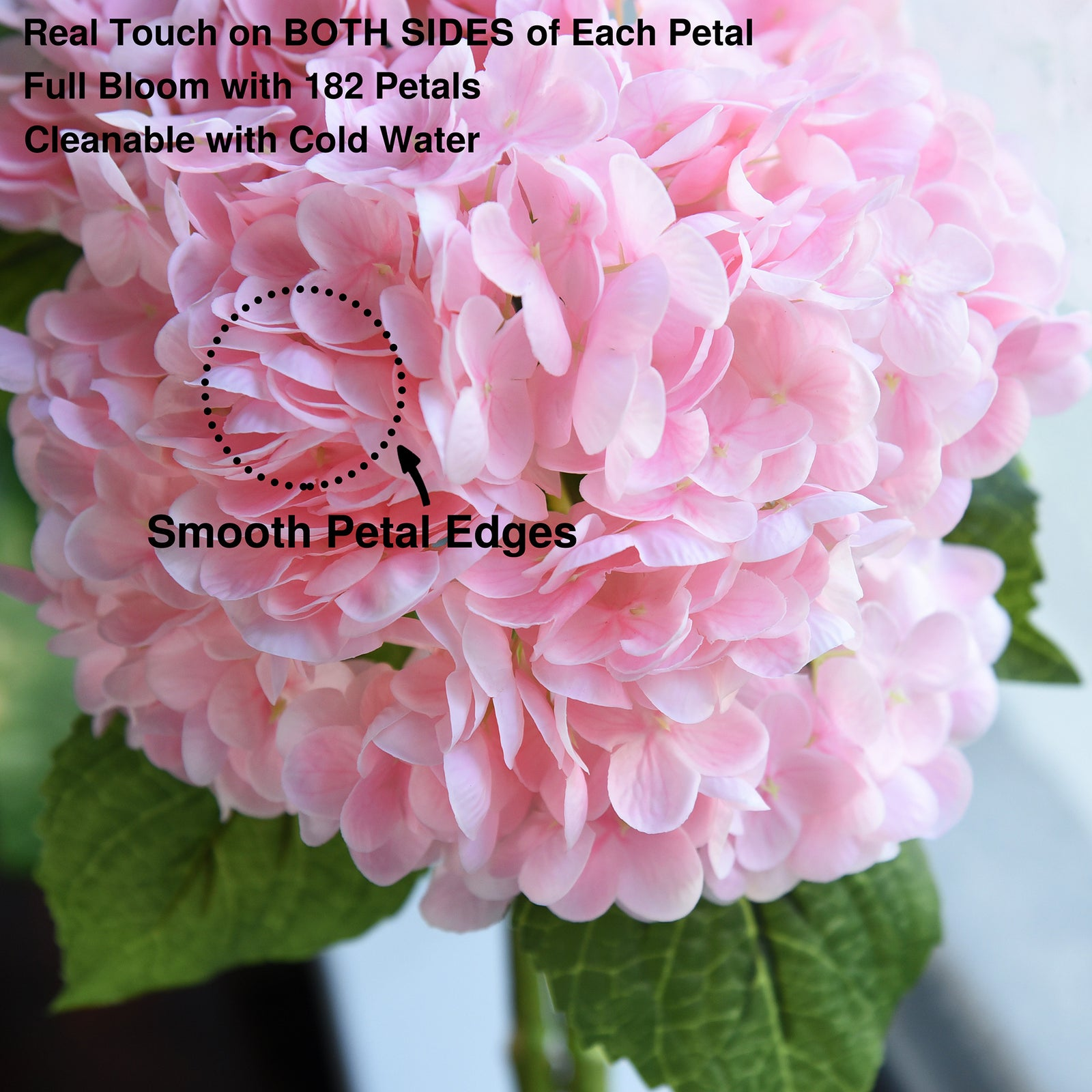 FiveSeasonStuff 2 Stems Real Touch Petals and Leaves Artificial Hydrangea Flowers Long Stem Floral Arrangement | for Wedding Bridal Party Home Décor DIY Floral Decoration (Pink)
