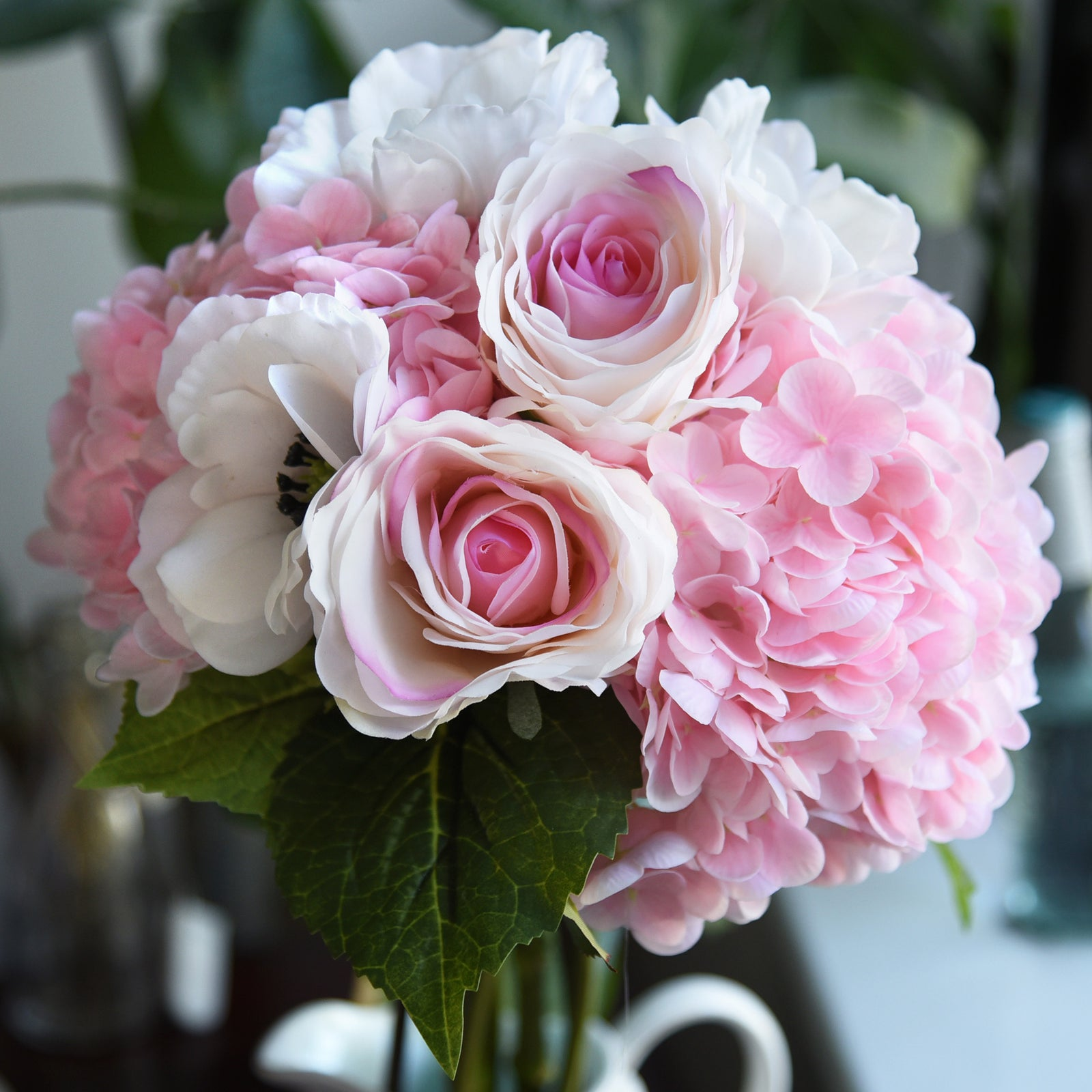 FiveSeasonStuff 2 Stems Real Touch Petals and Leaves Artificial Hydrangea Flowers Long Stem Floral Arrangement (Mixed Pink)